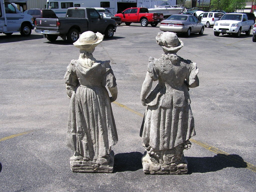Hand-Carved Pair of English Hand Carved Sandstone Figural Garden Statues , Circa 1780 For Sale