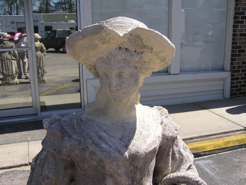 Pair of English Hand Carved Sandstone Figural Garden Statues , Circa 1780 In Excellent Condition For Sale In Charleston, SC