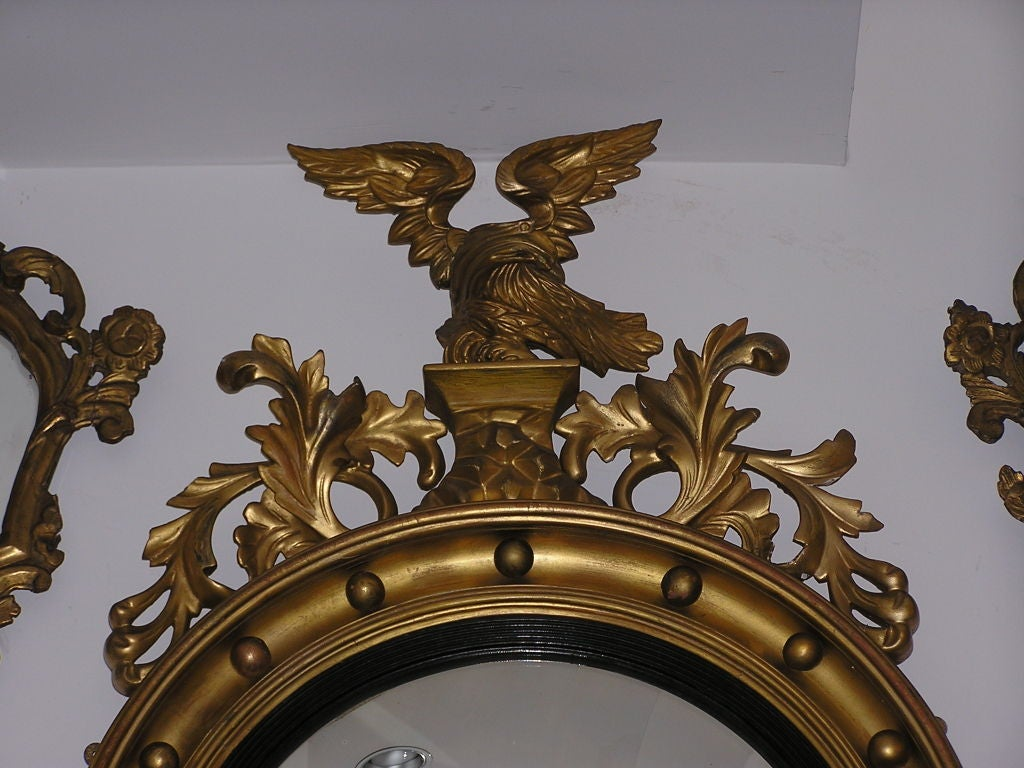 American gilt carved wood convex eagle and acanthus wall mirror american gilt carved wood convex eagle acanthus wall mirror circa 1820 3 amipublicfo Gallery