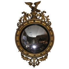 American Gilt Carved Wood Convex Eagle & Acanthus Wall Mirror, Circa 1820