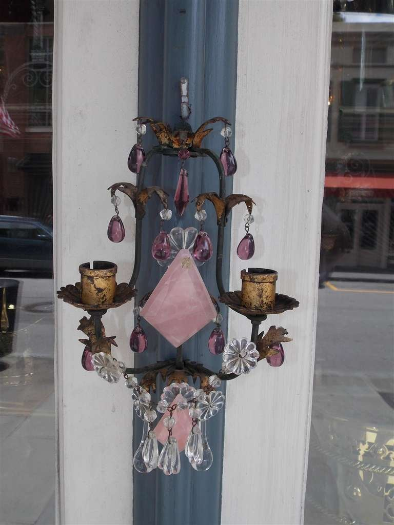 Italian Pair of Venetian Gilt Bronze and Crystal Sconces For Sale