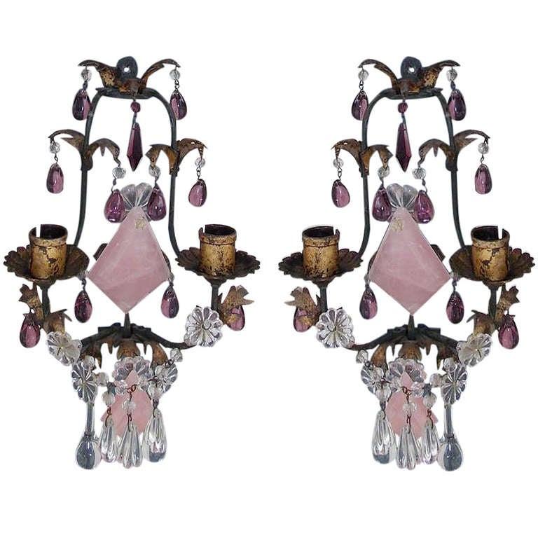 Pair of Venetian Gilt Bronze and Crystal Sconces For Sale