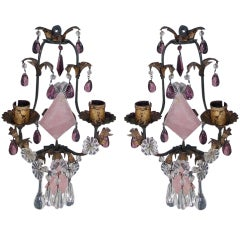 Pair of Venetian Gilt Bronze and Crystal Sconces