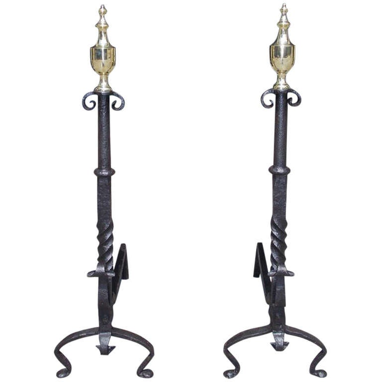 Pair of American Wrought Iron and Brass Urn Finial Andirons. Circa 1770 For Sale
