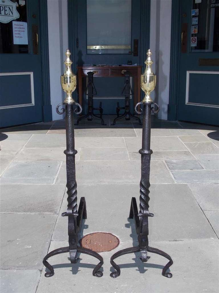 American Colonial Pair of American Wrought Iron and Brass Urn Finial Andirons. Circa 1770 For Sale