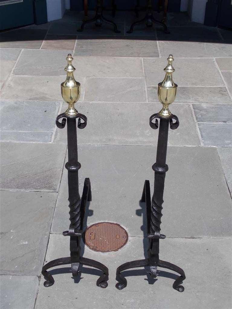 Cast Pair of American Wrought Iron and Brass Urn Finial Andirons. Circa 1770 For Sale