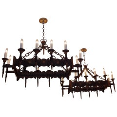 Pair of French Wrought Iron and Gilt Chandeliers, Circa 1820