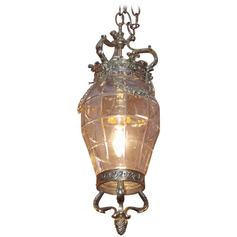 French Brass Hanging Glass Lantern, Circa 1840