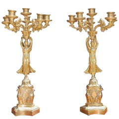 Pair of American Angelic Figural Gilt Bronze Candelabras, Circa 1820