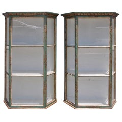 Pair of Italian Painted and Gilt Hanging Wall Vitrines, Late 19th century