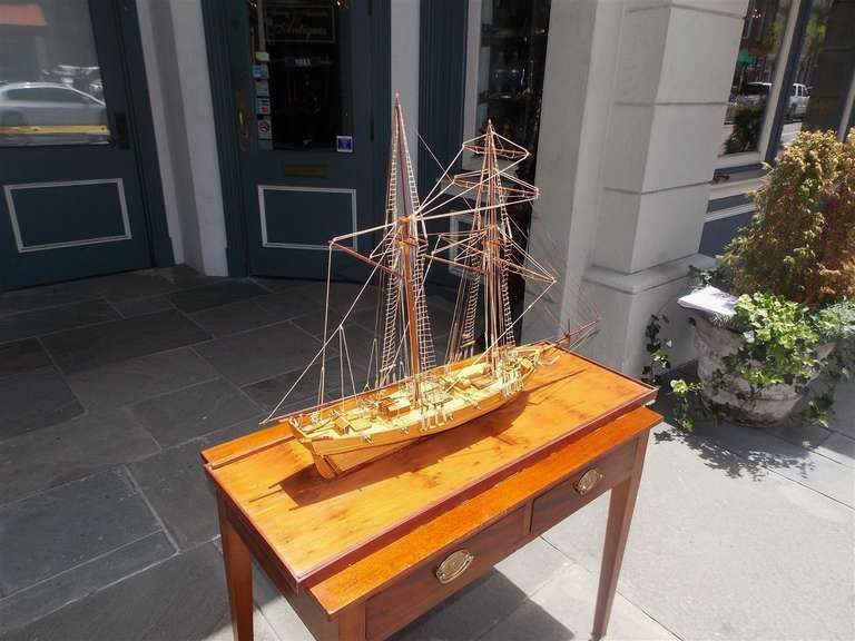 American Frigate Ship Mounted on Pecky Birch Board, Circa 1890 5