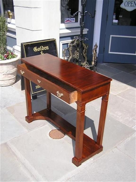 Brass English Mahogany One Drawer Diminutive Console , Circa 1810 For Sale