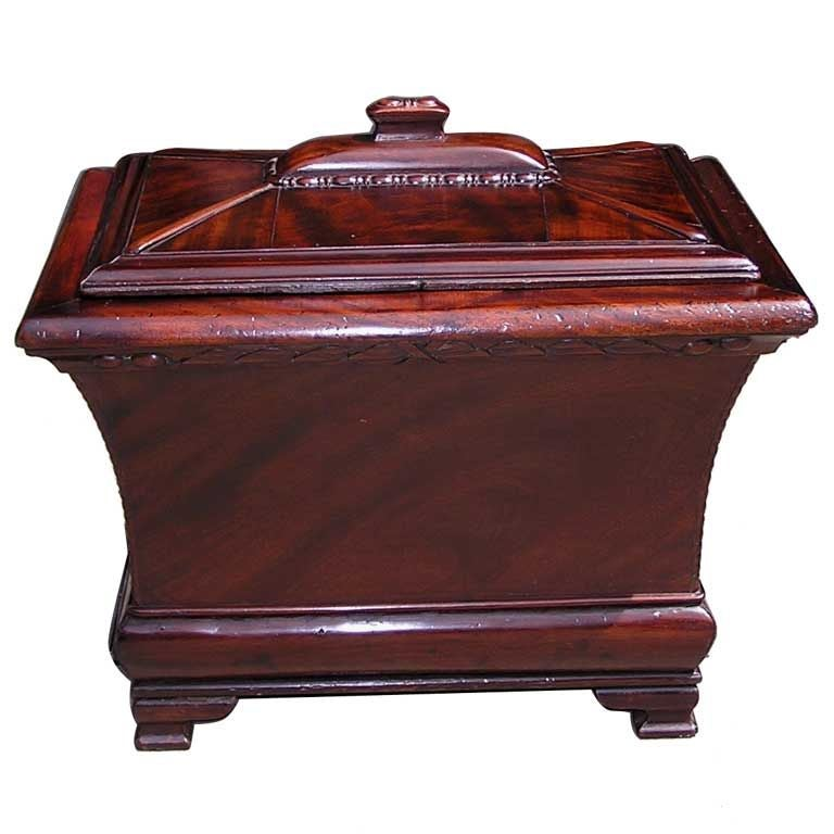 English Regency Mahogany Gadrooned Wine Cellarette , Circa 1790