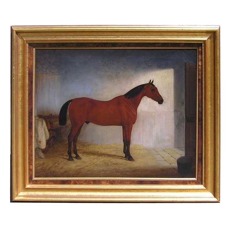 English Oil on Canvas With Horse In Stable, Circa 1866