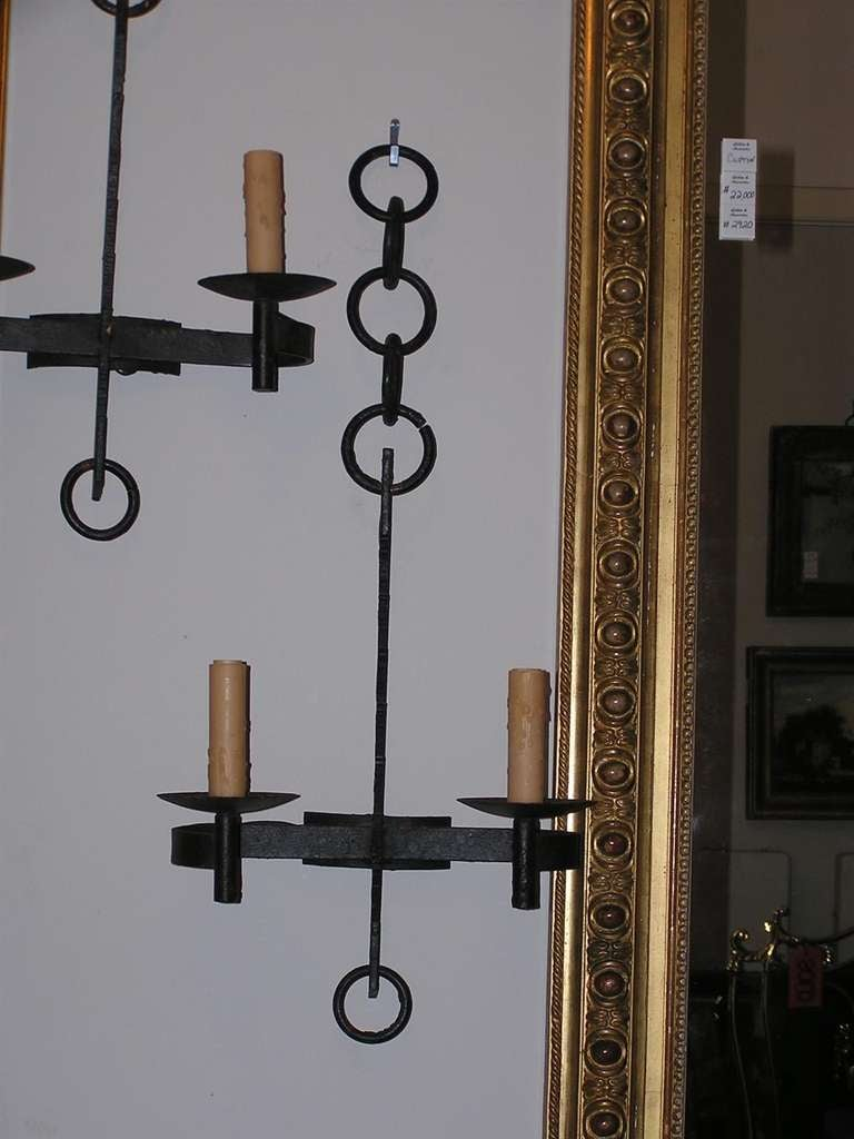 French Iron Wall Sconces : Set of Six French Wrought Iron Wall Sconces at 1stdibs