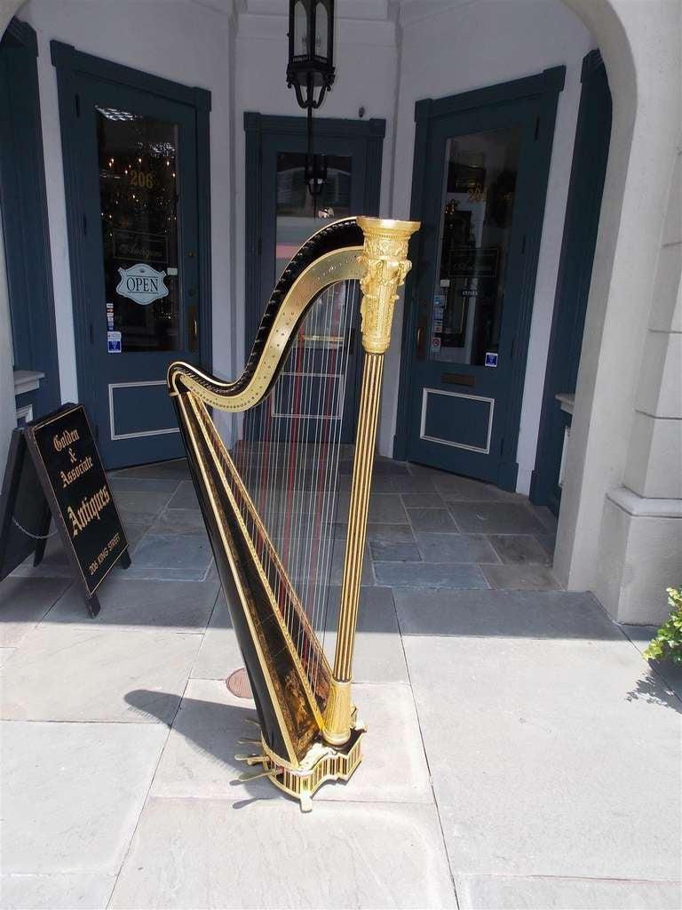 English Gilt Wood & Black Lacquered Harp, Signed Sebastian Erards, Circa 1805 2