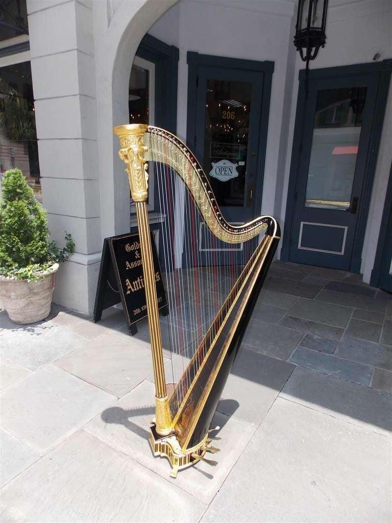 English Gilt Wood & Black Lacquered Harp, Signed Sebastian Erards, Circa 1805 3