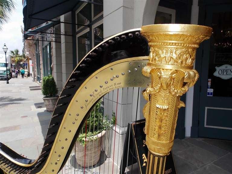English Gilt Wood & Black Lacquered Harp, Signed Sebastian Erards, Circa 1805 4