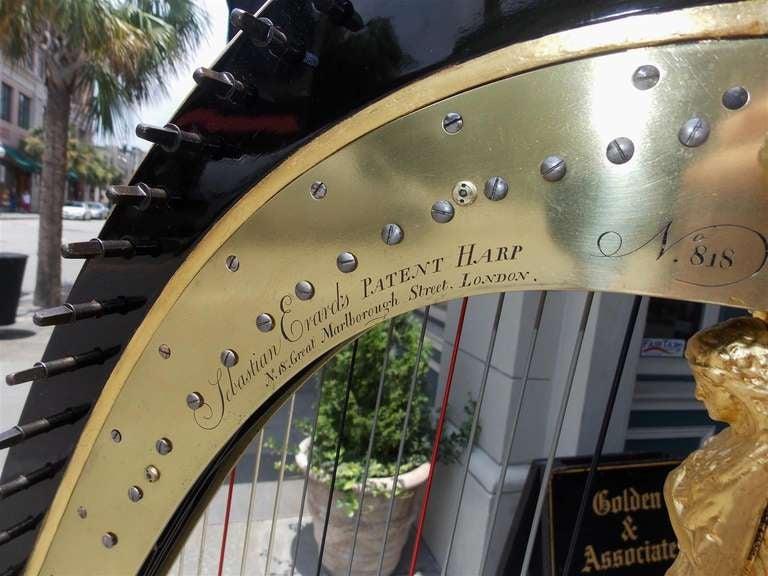 English Gilt Wood & Black Lacquered Harp, Signed Sebastian Erards, Circa 1805 5