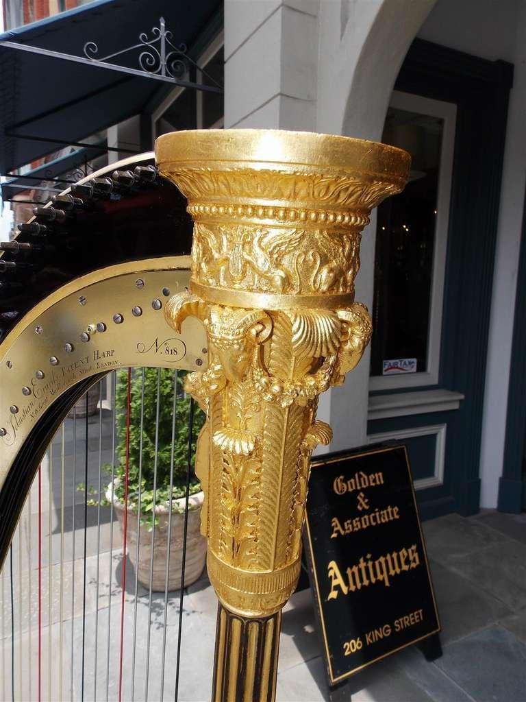 English Gilt Wood & Black Lacquered Harp, Signed Sebastian Erards, Circa 1805 6