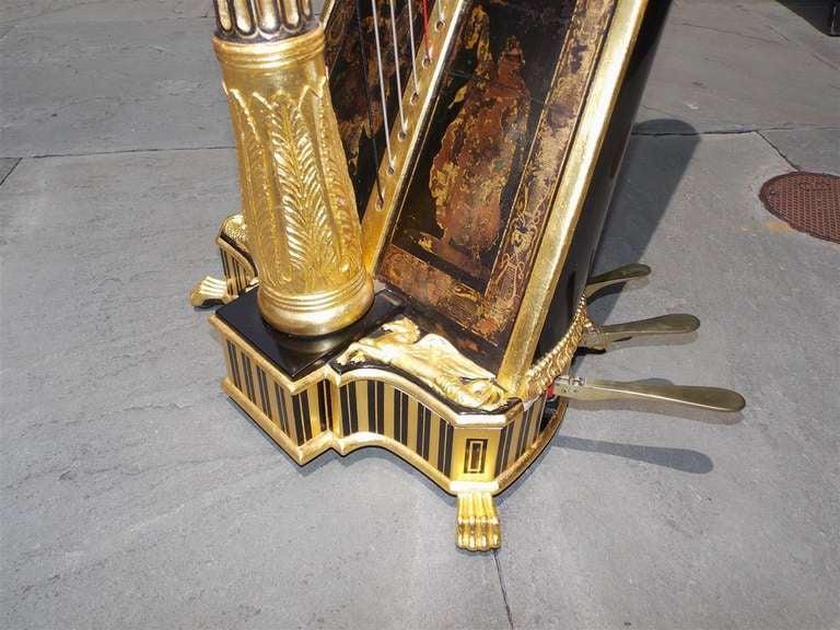 English Gilt Wood & Black Lacquered Harp, Signed Sebastian Erards, Circa 1805 8