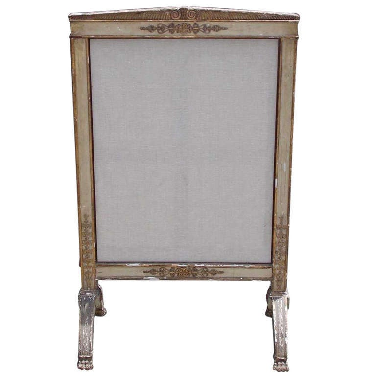 French Painted and Gilt Fire Screen