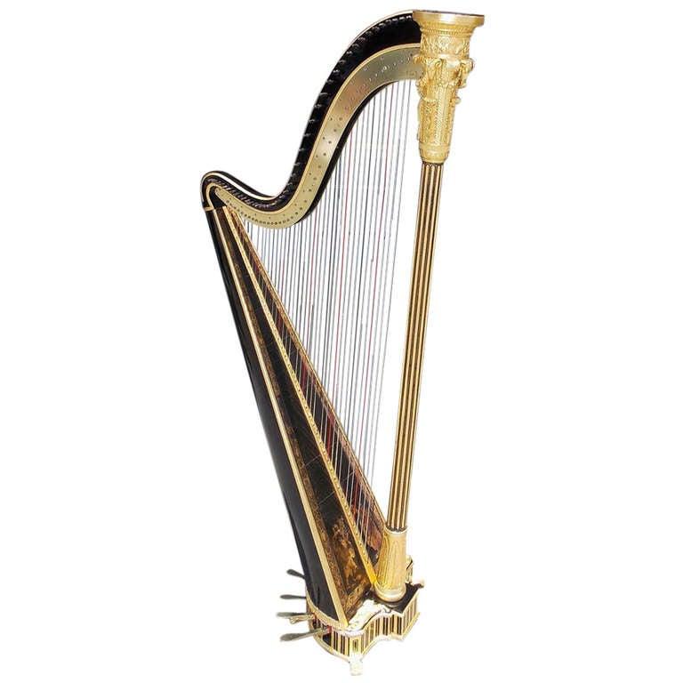 English Gilt and Black Lacquered Harp signed Sabastian Erards. Circa 1805
