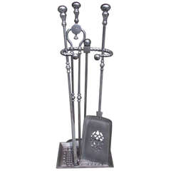 Set of English Polished Steel Tools On Stand.  19th Century