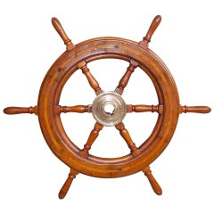 American Walnut Classic Yacht Wheel.  19th Century