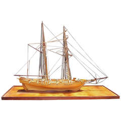 American Frigate Ship Mounted on Pecky Birch Board, Circa 1890