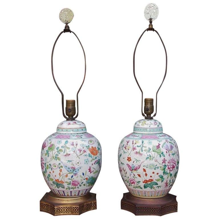 Pair Of Japanese Porcelain Ginger Jar Table Lamps, Circa 1840 1