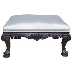 English Chippendale Mahogany Carved Acanthus Ottoman, Circa 1780
