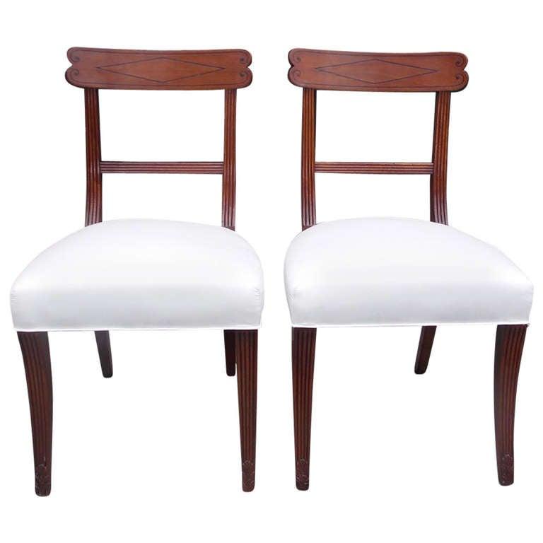 Pair of English Regency Side Chairs, Circa 1810