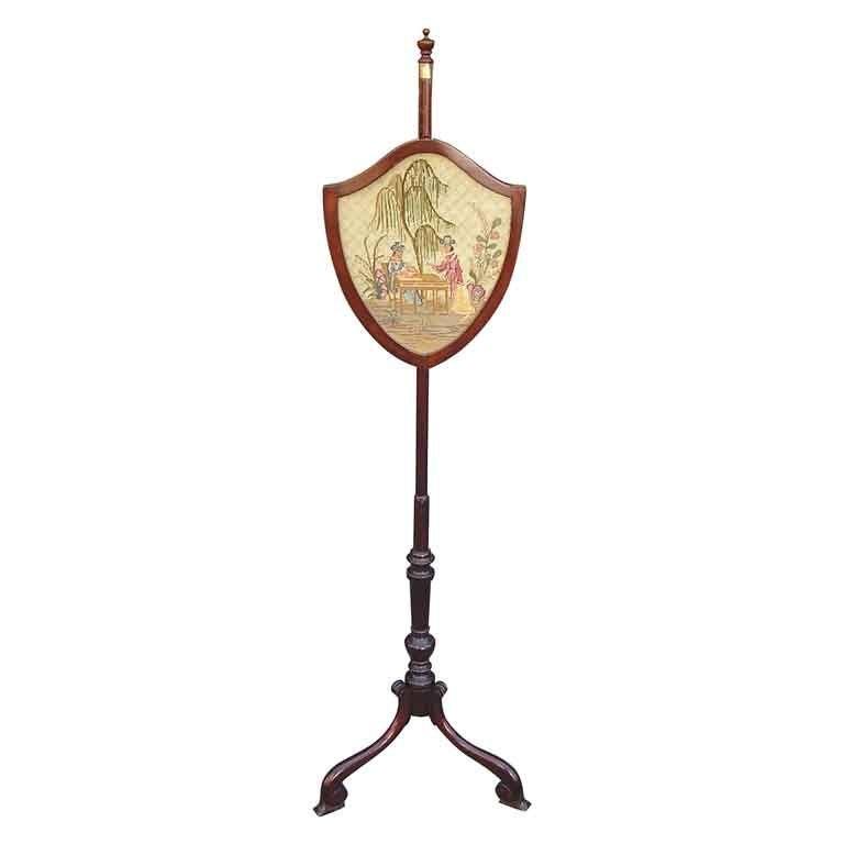 English Chippendale Mahogany Shield Back Pole Screen, Circa 1770