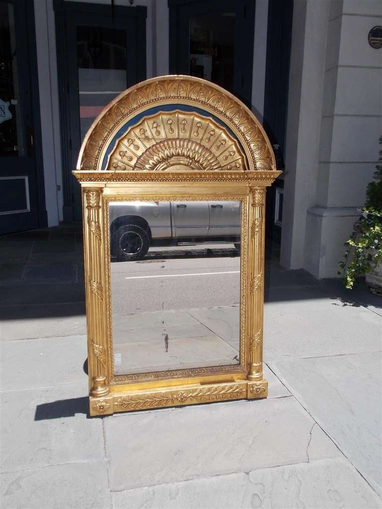 Arched gilt mirror at 1stdibs - Russian Gilt And Lapis Arched Wall Mirror 3