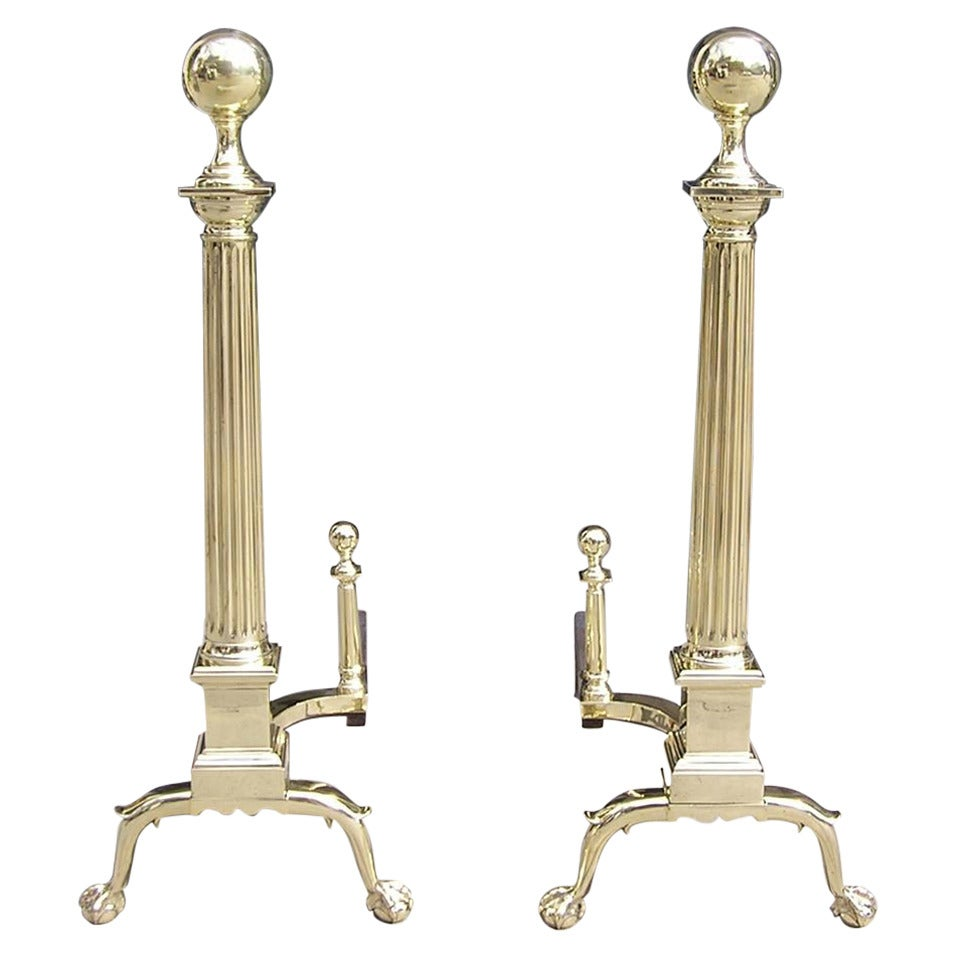 Pair of American Brass Ball Top Andirons