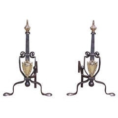 Pair of Italian Brass and Wrought Iron Andirons