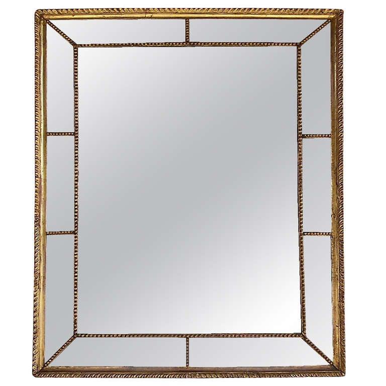 Venetian Gilt Carved Wood Gadrooned Mirror.  Circa 1770