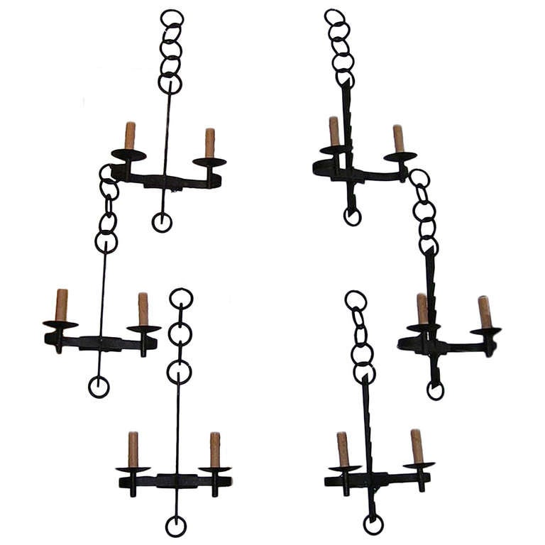 set of six french wrought iron wall sconces at 1stdibs