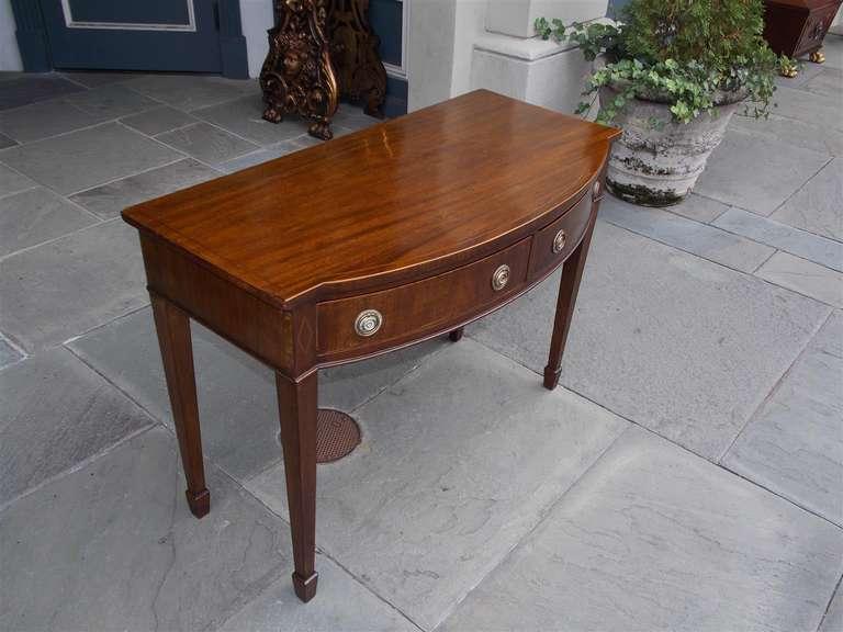 British English Hepplewhite Mahogany Bow Front  Inlaid Server, Circa 1790 For Sale