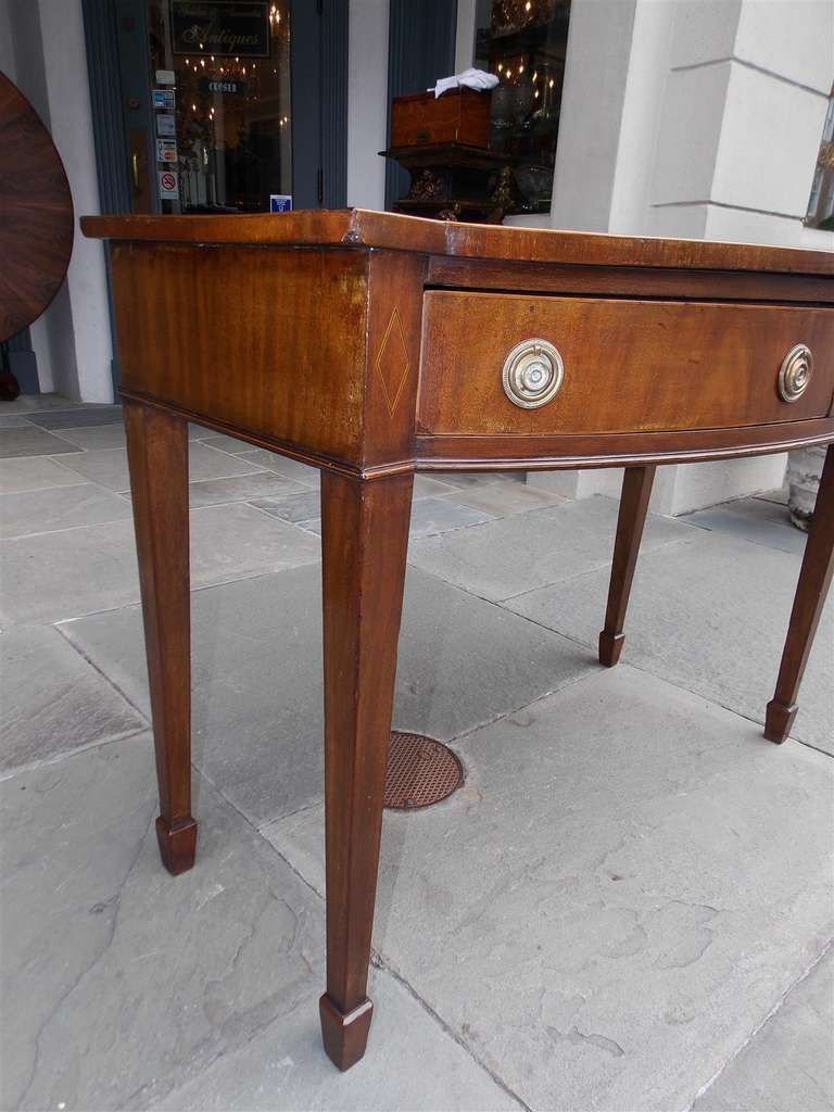 18th Century and Earlier English Hepplewhite Mahogany Bow Front  Inlaid Server, Circa 1790 For Sale