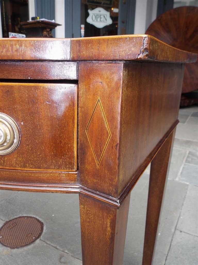 English Hepplewhite Mahogany Bow Front  Inlaid Server, Circa 1790 For Sale 4