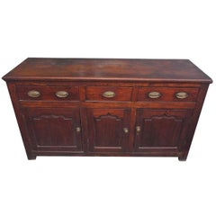 English Oak Three-Drawer Credenza, Circa 1780