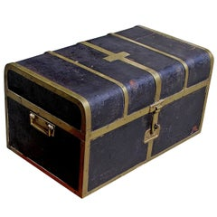 British Campaign Royalty Leather Traveling Trunk, Circa 1820
