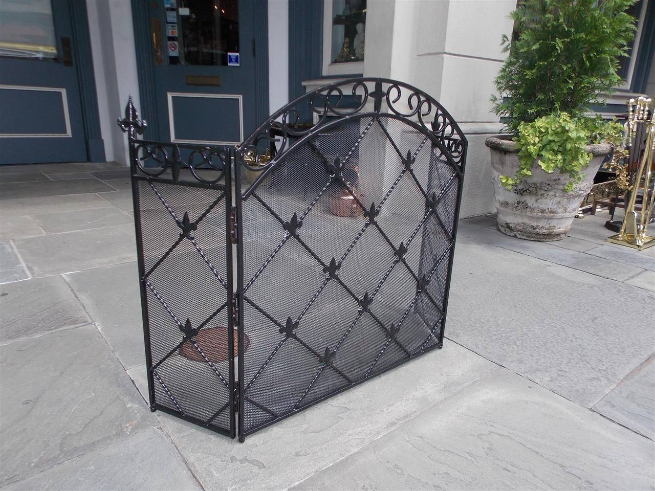 french wrought iron arched three panel fleur de lis fire screen