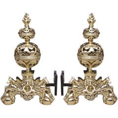 English Chased & Pierced Brass Ball Sea Horse Andirons , Circa 1830