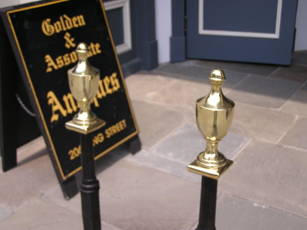 Late 18th Century Pair of American Wrought Iron & Brass Urn Finial Andirons . Circa 1780 For Sale