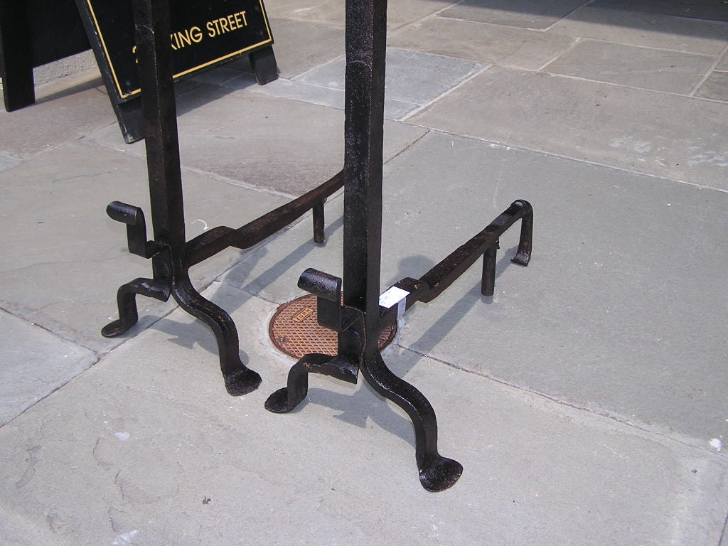 Pair of American Wrought Iron & Brass Urn Finial Andirons . Circa 1780 For Sale 1
