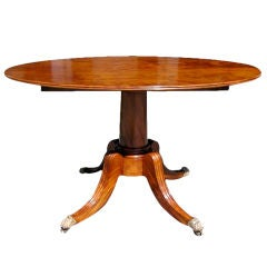 American Walnut Oval Tilt Top Pedestal Table, One Board Top,  Boston , C. 1810
