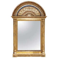 Russian Gilt and Lapis Arched Wall Mirror